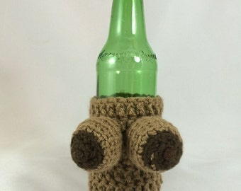 Handmade, Crocheted Boozie - Beer Boobie Coozie - Dark Skin - Great gift or funny party item! (Removable crocheted bikini sold SEPARATELY)