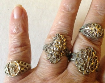 925 Silver Filigree Rings Vintage lot 339