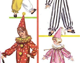 """1960s Children's Clown Costumes with Ruffled Collars Pointed Hats Simplicity 6198 Breast 30-32"""" Size Large 12-14 Vintage Sewing Pattern"""
