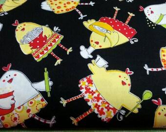 SALE, Quilt Kit 4 Yards Kitchen Chickens Cotton Fabric Coordinating Cotton Fabric Quilt Kit