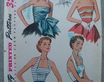 Fabulous Vintage 50s Misses' Pattern HALTER And STRAPLESS BODICE Factory Folded