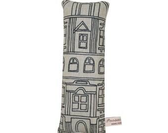 Plush House Pillow, Grey Linen Toy House Novelty Pillow, Grey Fabric House Soft Sculpture, Play House, Grey Nursery Decor, Poosac