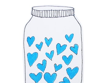 Father's Day Card, I Love You Dad, Blank Greeting Card, Jar of Blue Hearts, Be My Valentine Minimalist Card, Poosac