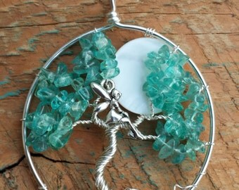Apatite Tree of Life Pendant with Fairy and Moon