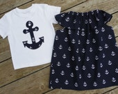 Brother and Sister Matching Anchor Outfits - Girl's Ruffle Neck Sleeveless Peasant Dress with Brother Appliqued Anchor Shirt