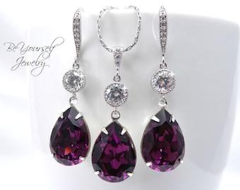 Purple Bridal Earrings Amethyst Bride Necklace Wedding Jewelry Plum Bridesmaid Gift Swarovski Crystal Dark Purple Teardrop Wedding Earrings