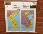 Korean and Vietnam War- Pull Down Vintage School Wall Map- Circa 1975