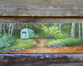 Vintage Airstream painting, canoe river camping scene