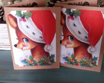 Rudolf Santa hat Christmas Cards santa hat Christmas Cards Christmas deer Cards Set Christmas Handmade cards set of 8