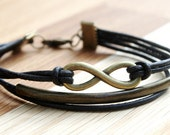 Eternity Infinity & Tube Leather Bracelet for Men black bronzecolored -  man jewelry brother father boyfriend husband gift