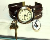 Miss Poppins Silhouette Leather Bracelet Watch Wristwatch brown bronzecolored - Fairy Tale special gift childhood nostalgia jewelry