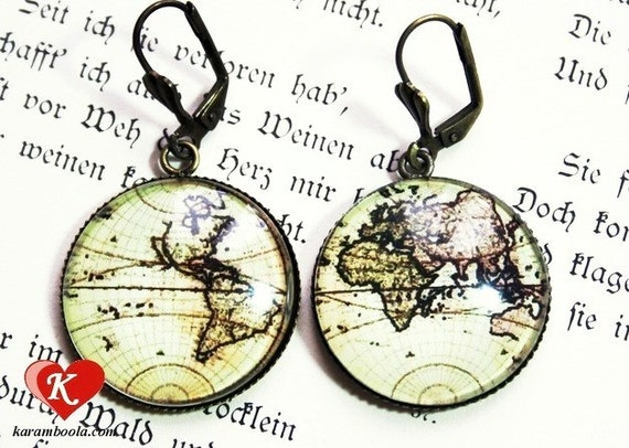 Antique World Map Pomp Earrings bronzecolored - globetrotter travel globe continents cruise farewell seafaring vintage sister friend gift