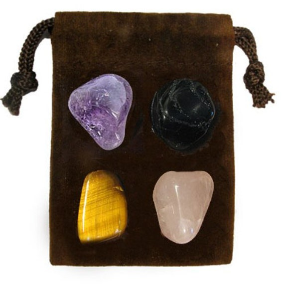 PSYCHIC ATTACK - Meditation Stone Set Crystal Healing Gemstone Kit, Tumbled Gemstone Healing Set, 4 Stones, Pouch, Card