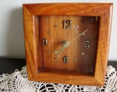 Wood Battery Clock, Desk Clock, Mantle Clock, Koa Wood Clock, Hawaiian Wood, Battery Operated Clock