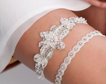 luxury beaded bridal garter set, wedding garter set - Oxana