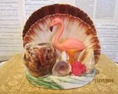 Vintage Sea Shell Sculpture with Pink Flamingo ~~ Souvenir ~~ Kitsch