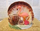 Vintage Sea Shell Sculpture with Pink Flamingo ~~ Souvenir ~~ Kitsch