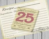 Christmas Recipe Card 4x6 3x5 3.5x5 Printable Holiday Recipe Card
