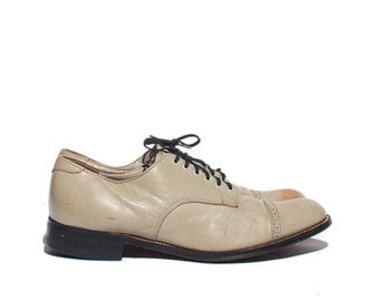 8 1/2 D | Men's Beige Stacy Adams Cap Toe Brogue Oxfords Dress Shoes