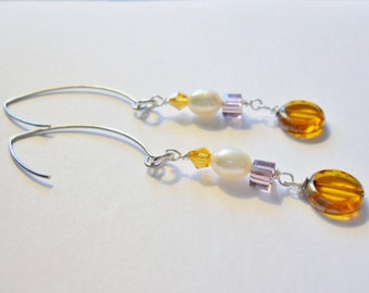 Dangle earrings,  Gold  Coin Round Beads, Gold Swavorski Crystal, Fresh water Pearls, Square  lavender czech beads