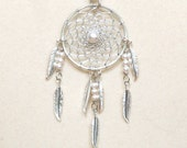 Dream Catcher Pearl & Silver Dreamcatcher Necklace with Feathers