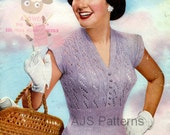 PDF Knitting Pattern for a Pretty 1950s Retro Summer Top Jumper Blouse - Instant Download