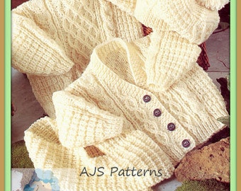 """PDF Knitting Pattern for Aran Cardigan Sweater Hat & Scarf to fit Chest sizes 16""""-22""""  - Instant Download"""