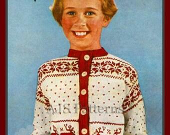 PDF Knitting pattern for a Girls Reindeer & Christmas Tree Fair Isle Jacket or Cardigan - 1950s