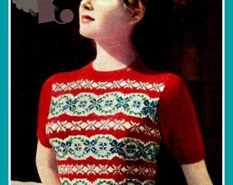 PDF Knitting Pattern for a Ladies Fabulous 1940's Retro Fair Isle Sweater - Instant Download