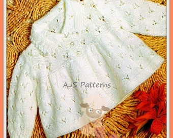 """PDF Knitting Pattern for Pretty Eyelet Matinee Coat 18-19"""" Chests  - Instant Download"""