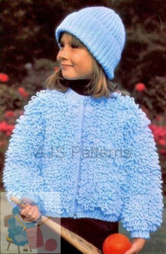 Loopy Cardigan Knitting Pattern : Pdf knitting pattern girls loopy or loop stitch jacket hat