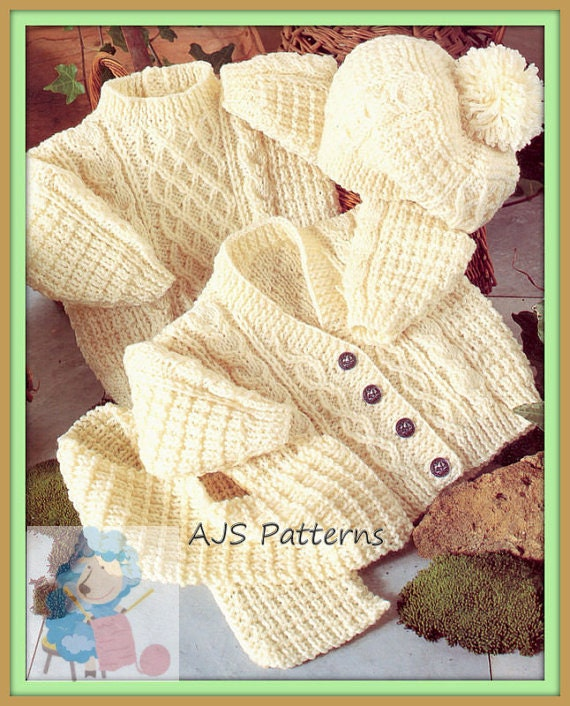 Free Knitting Pattern Baby Aran Cardigan : PDF Knitting Pattern for Aran Cardigan Sweater Hat & Scarf to