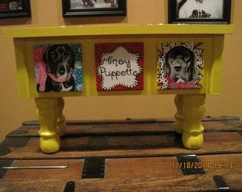 Custom, medium size elevated dog feeder
