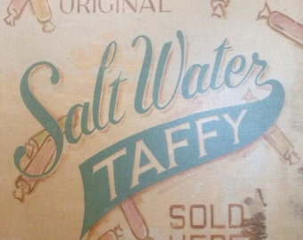 Salt Water Taffy wooden sign print