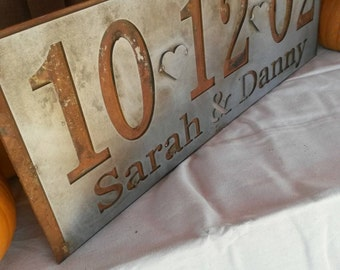 Metal Layered Personalized Wedding Anniversary Date Art Sign
