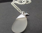 White Sea Glass Necklace:  Frosted Winter White Bridal Necklace, Fine Silver Wire Wrapped Beach Wedding Jewelry, Heart Charm