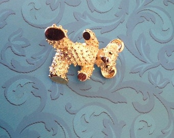 Signed Gerry's 1970's Dot Textured Teddy Bear Brooch