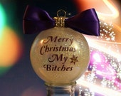 Glass Glitter Christmas Tree Ornament Sisters Friends Gift