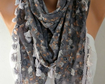 Floral Printed Scarf Shawl Spring Cotton Scarf Cowl Scarf Gift Ideas For Her Women Fashion Accessories