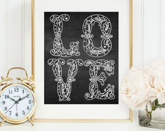 Chalkboard Printable, Digital Printable Art, Valentine's Day Printable Artwork, Printables, Modern Poster, Instant Download