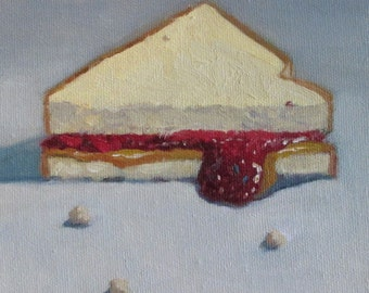 Jennifer Boswell Original Impressionist Oil Painting PB and J Sandwich Still Life Painterly Realism 6x6 Canvas