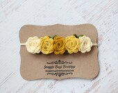 Mustards and Cream  Rose Garland Headband  - Newborn Baby to Adult - Wool Felt Flower Headband
