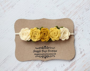 Mustards and Cream  Rose Garland Headband  - Newborn Baby to Adult - Wool Felt Flower Headband