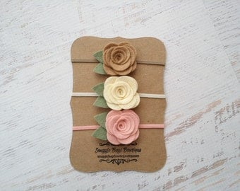 Set of 3 Medium Wool Felt Rose Buds- Taupe, Cream and Vintage Pink - Newborn Baby to Adult - Wool Felt Flower Headband