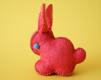 Red Felted Bunny Rabbit Toy -- Unique animal soft sculpture -- Ecofriendly felt animal