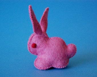 Bubblegum Pink Felted Bunny Rabbit Toy -- Unique animal soft sculpture -- Ecofriendly felt animal