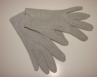 Vintage 1950's Metallic Silver Gloves
