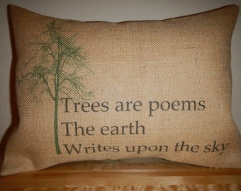 Burlap Pillow Trees are Poems , Trees,  Environment,  Go Green,  INSERT INCLUDED