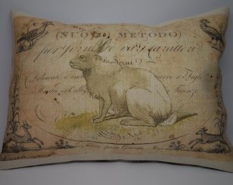 Vintage French Rabbit Burlap Accent Pillow  Shabby Chic