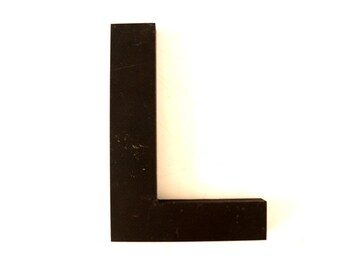 "Vintage Industrial Letter ""L"" 3D Sign Letter in Black Heavy Plastic (5"" tall) - Industrial Home Decor, Typography Letter, Altered Art"